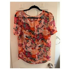 Multi-colored floral print Forever 21 top. Size S.